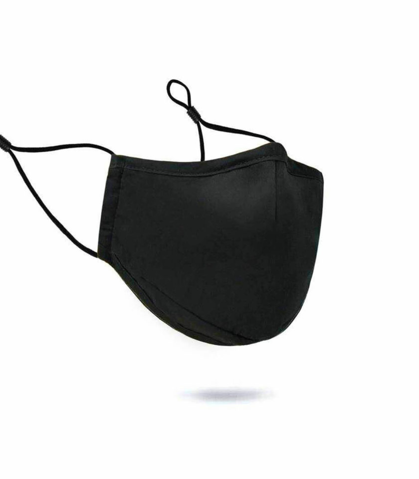Cotton Face Mask - Black with String